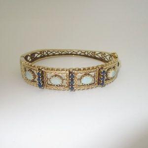 Jewelry - 14k 4.72ct Sapphire Diamond Bracelet Size 7.5 B132